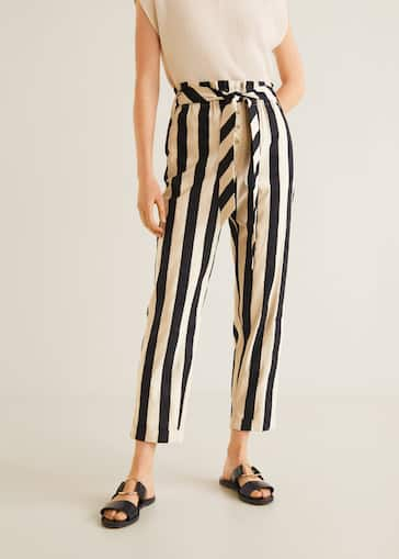 4d3f993b5e Straight striped trousers - Women