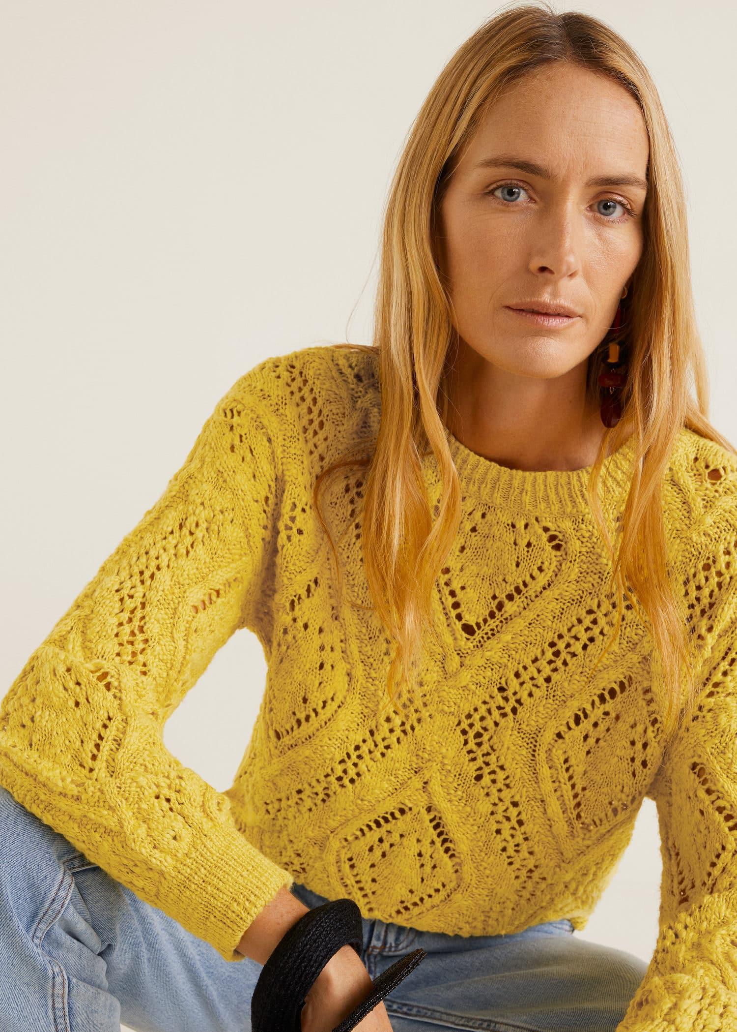 Genombruten stickad tröja Damer | Mango Sverige