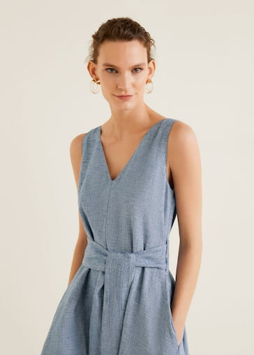 2f2fc1e4874 Linen-blend shirt dress - Details of the article 2