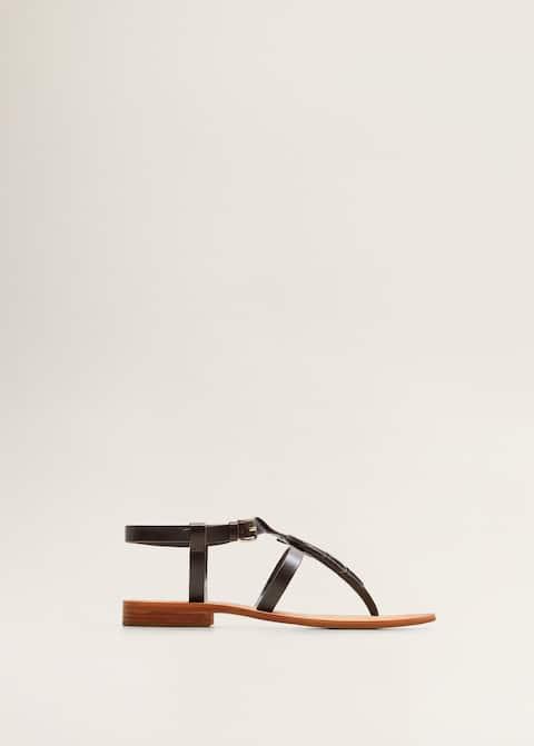 54570b7758f03 Skórzane sandały z pasków - Kobieta   Mango Polska