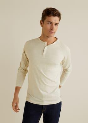 6e82e7d2c9bf T-shirt coton col tunisien - Plan moyen