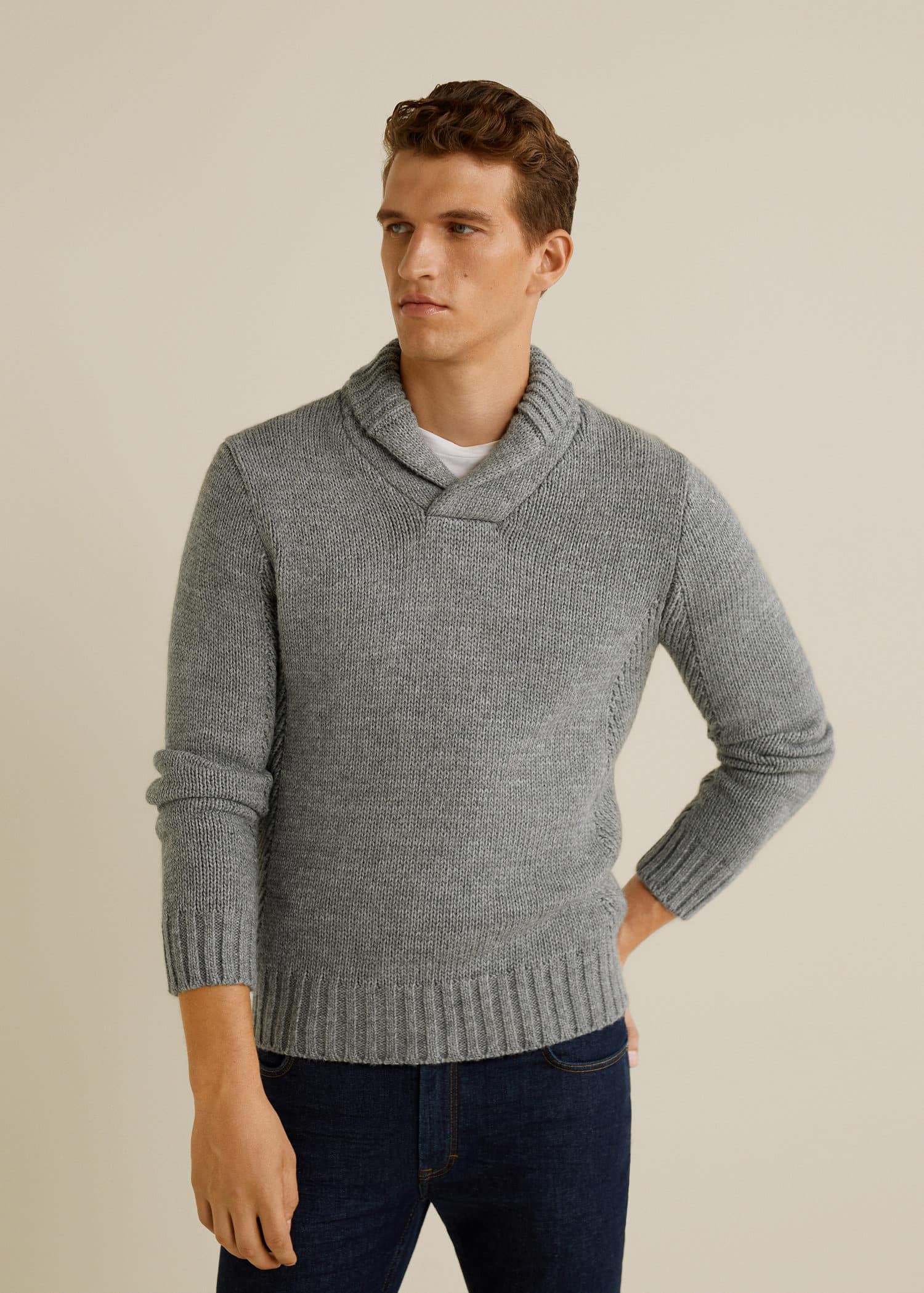 Camp collar knit sweater
