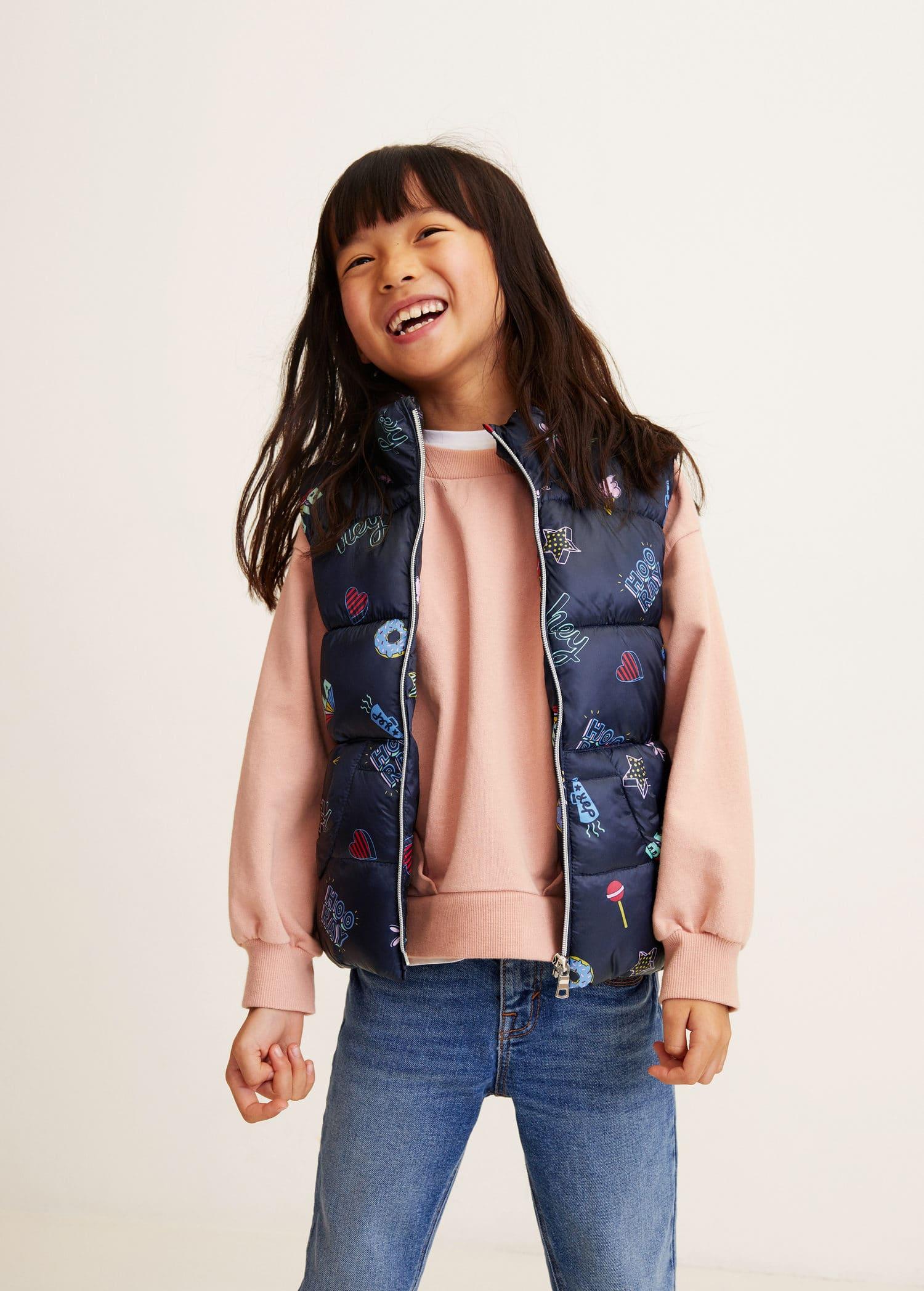 smuts billigt plockade upp exklusiva skor Vadderad väst tryckt - Flicka | Mango Kids Sverige