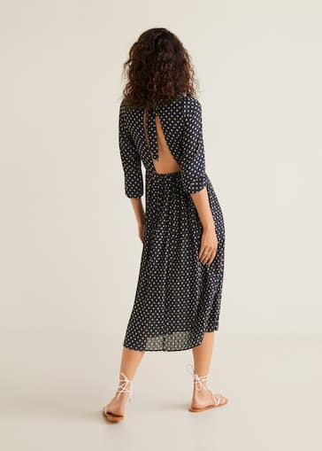 249778701ecc3 Polka-dot pleated dress - Reverse of the article