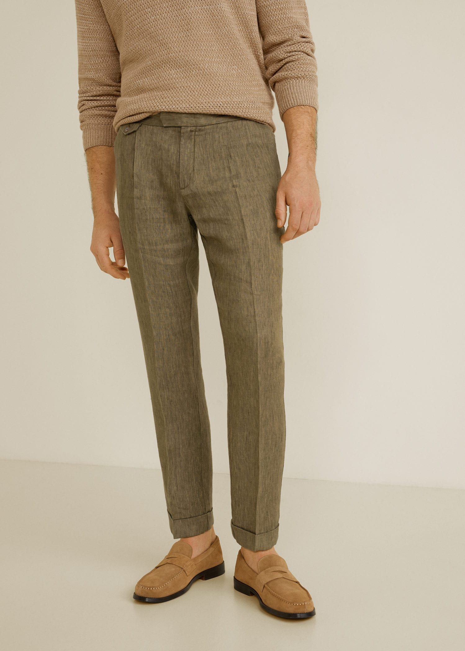 Regular Fit Pleated Linen Trousers