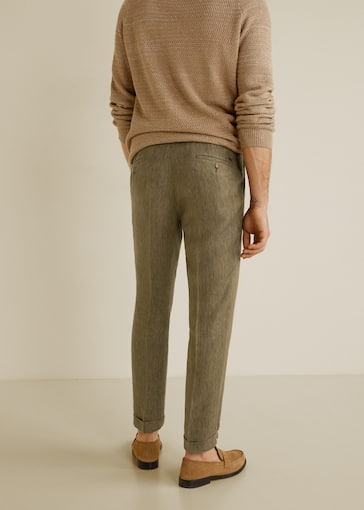 b4481be0fd Regular-fit pleated linen trousers