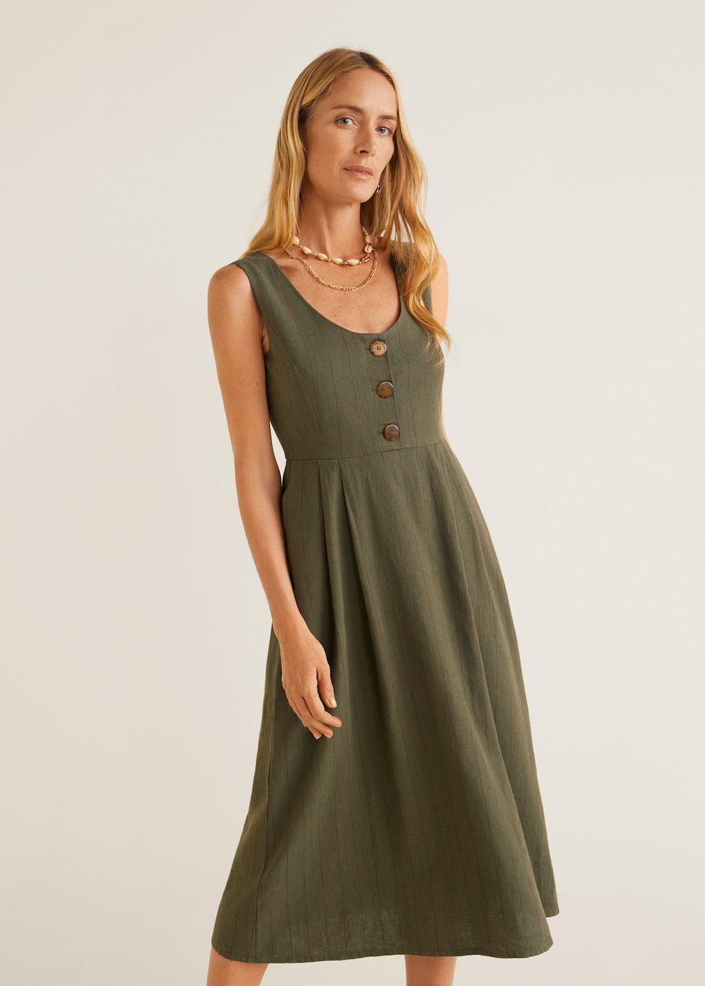 Gestreepte linnen jurk - Middenvlak