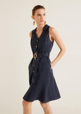 0bdf358ac04df Belt linen dress - Medium plane