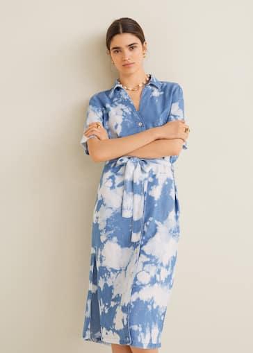 76600e2e4c Vestido estampado tie-dye - Plano medio