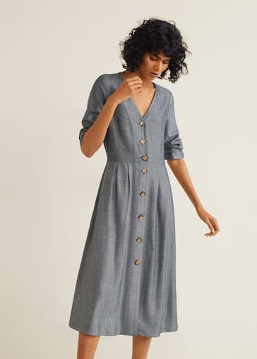11a25390b8 Sukienka w jodełkę na guziki - Plan średni