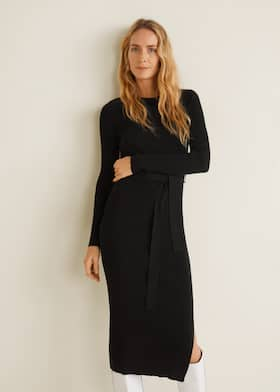 4f3b9712c7b5c8 Tricot jurk ribdetails - Middenvlak