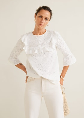 c8d8184111cfe6 Floral embroidery blouse - Medium plane