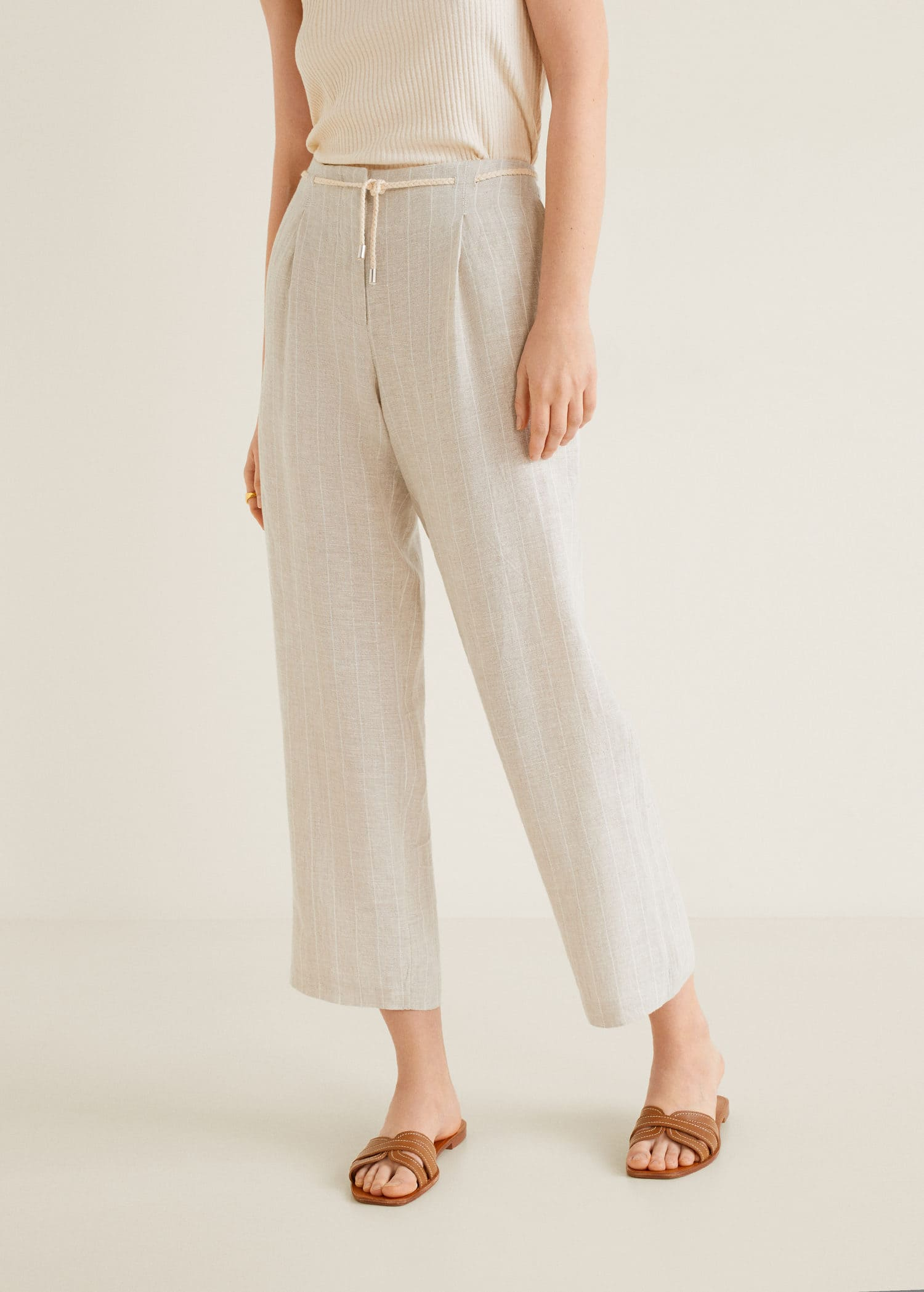 choose official fast delivery high quality guarantee Striped linen-blend trousers - Woman | Mango Gibraltar