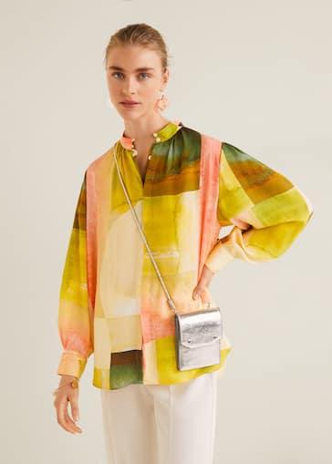 9be811c7d0c8e Buttoned printed blouse - Medium plane