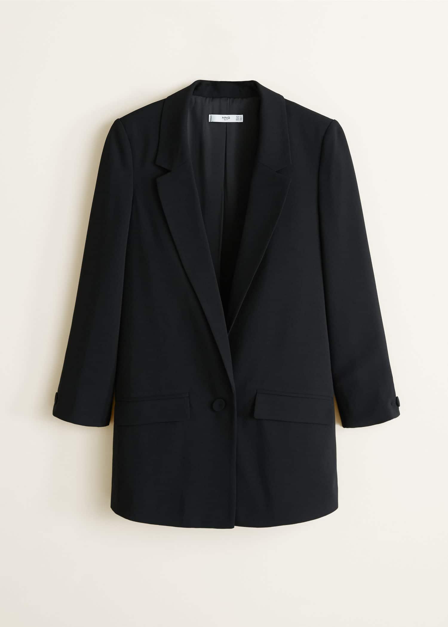 veste crêpe noire mango