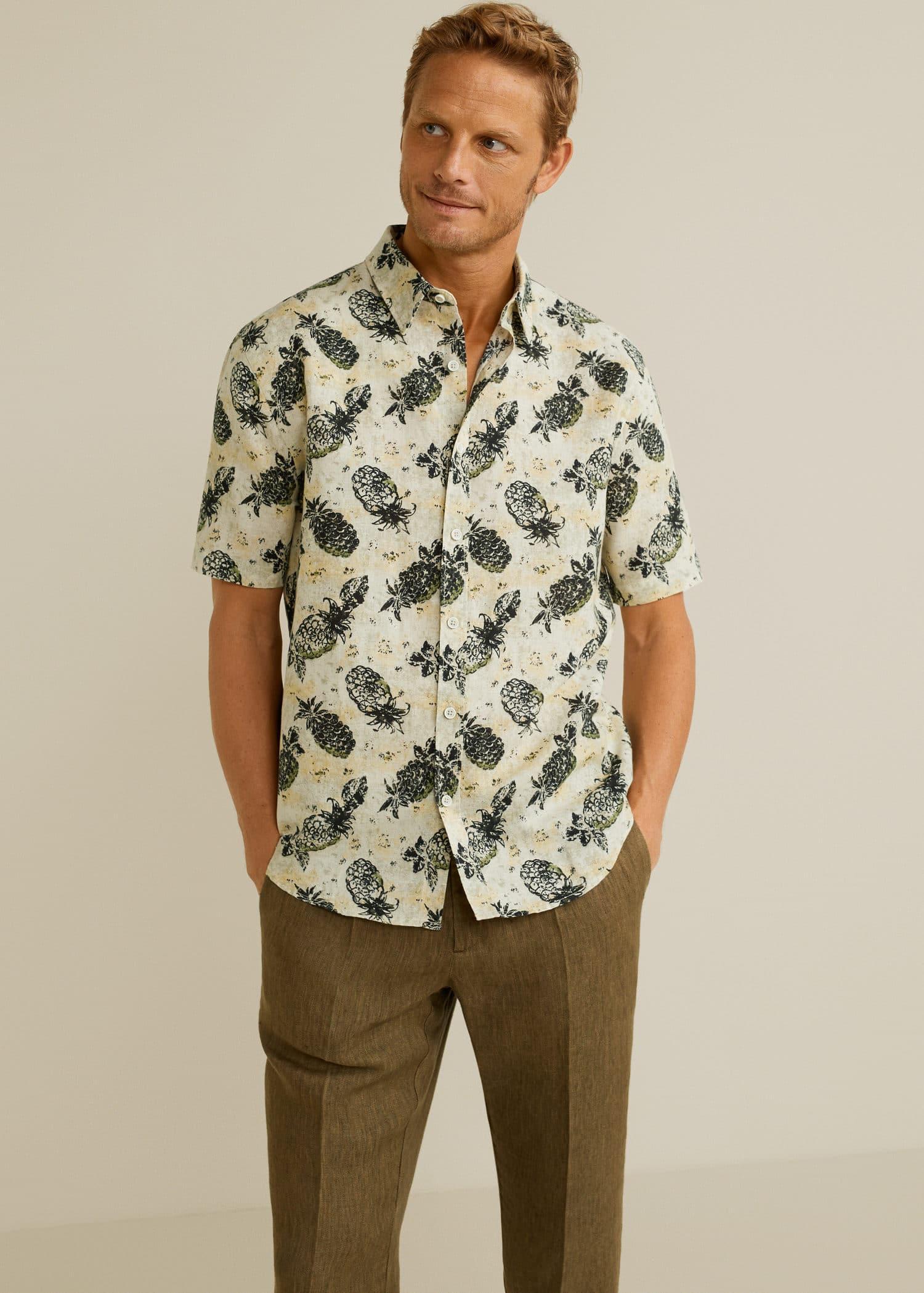 Regular fit hemd mit tropen print Herren | Mango Man Luxemburg