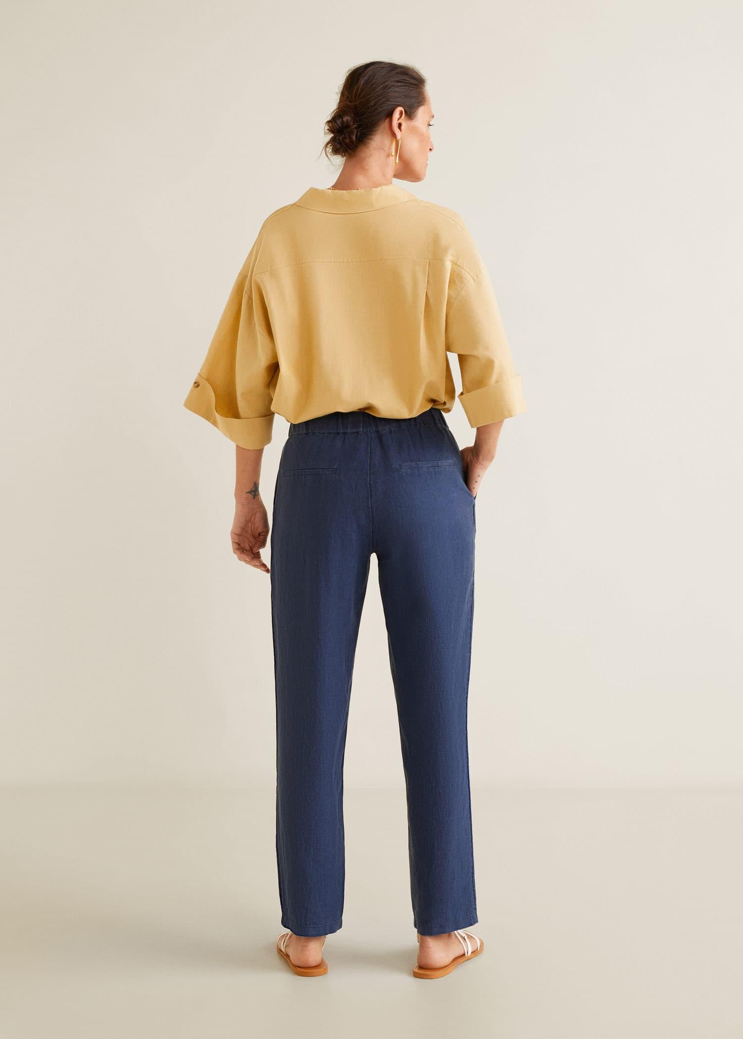 Pantalón recto lino Mujer   Mango España