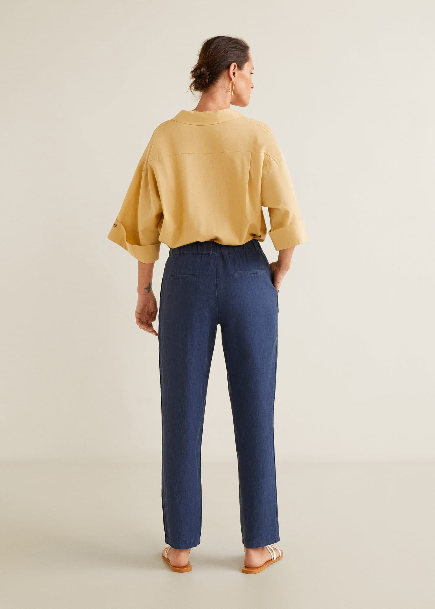 3544efa987f88 Modalite - Mango Düz kesim keten pantolon
