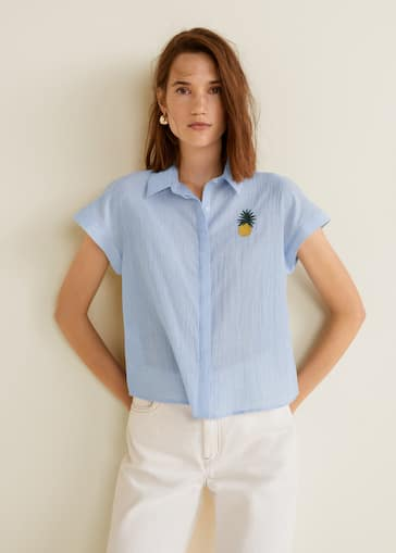 506f7909 Embroidered cotton shirt - Woman | Mango Macedonia