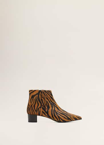 075aa07ac Animal print leather ankle boots - Women | Mango USA