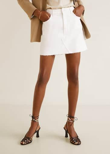 638a9cc1cf9 Джинсовая юбка с необработанными краями и торчащими нитками - Деталь  изделия 1