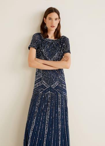 b682301cb333a8 Robe longue à sequins - Femme | Mango Belgique