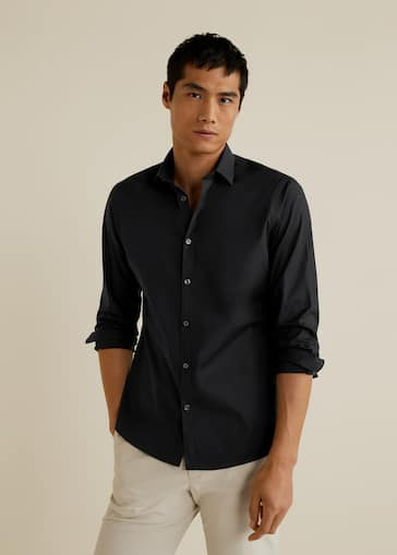 0f6e6775dfc628 Camisa slim-fit algodón stretch - Plano medio