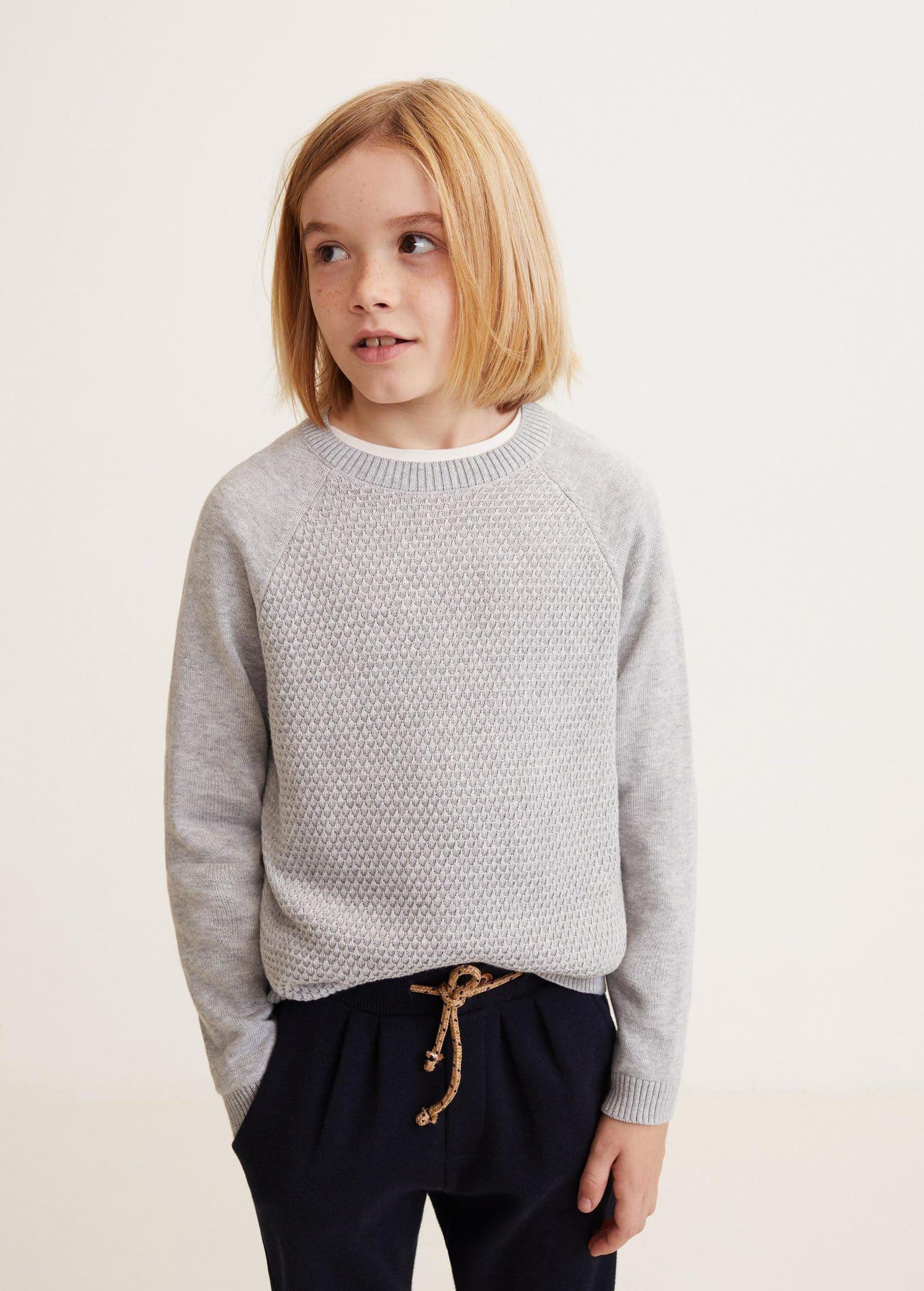cheaper latest design sale uk Contrasting knit sweater - Boys   Mango Kids Lithuania