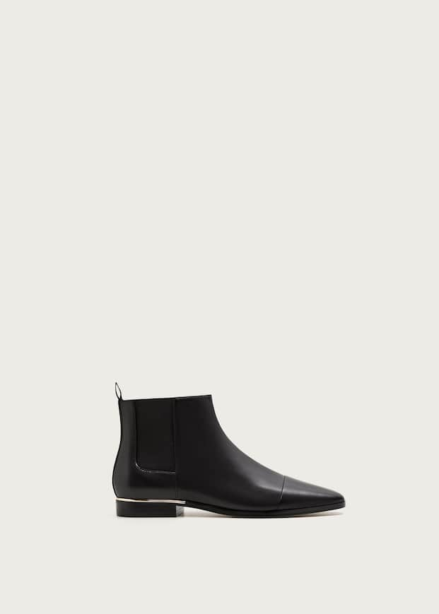 Flat Leather Ankle Boots by Mango
