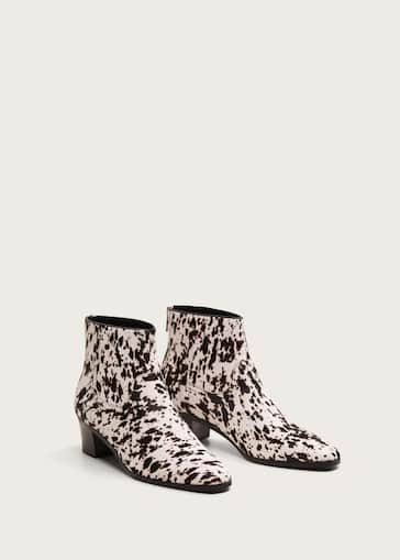 575644c4754 Animal print leather ankle boots