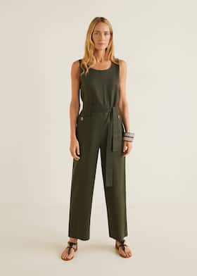 7ab63f843b Long linen-blend jumpsuit - Medium plane