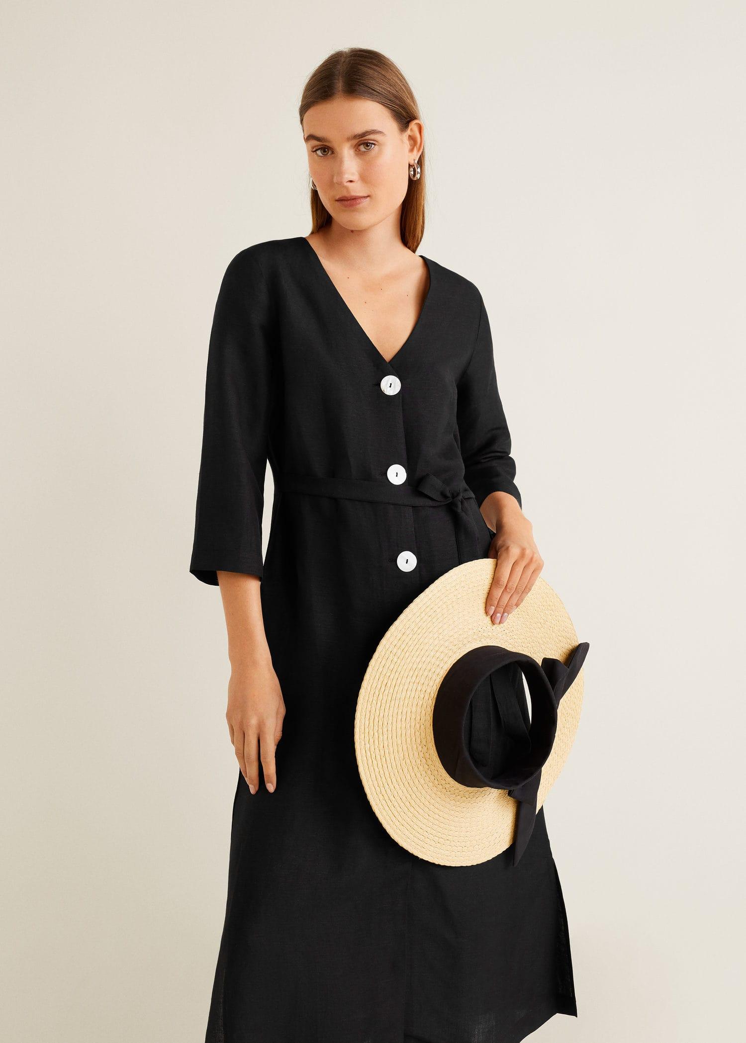 70eaeeb14 Buttoned linen-blend dress - Woman | Mango Saudi Arabia