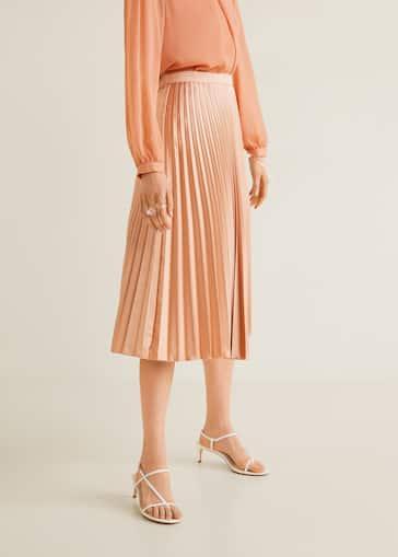 482ecbcac Satin pleated skirt