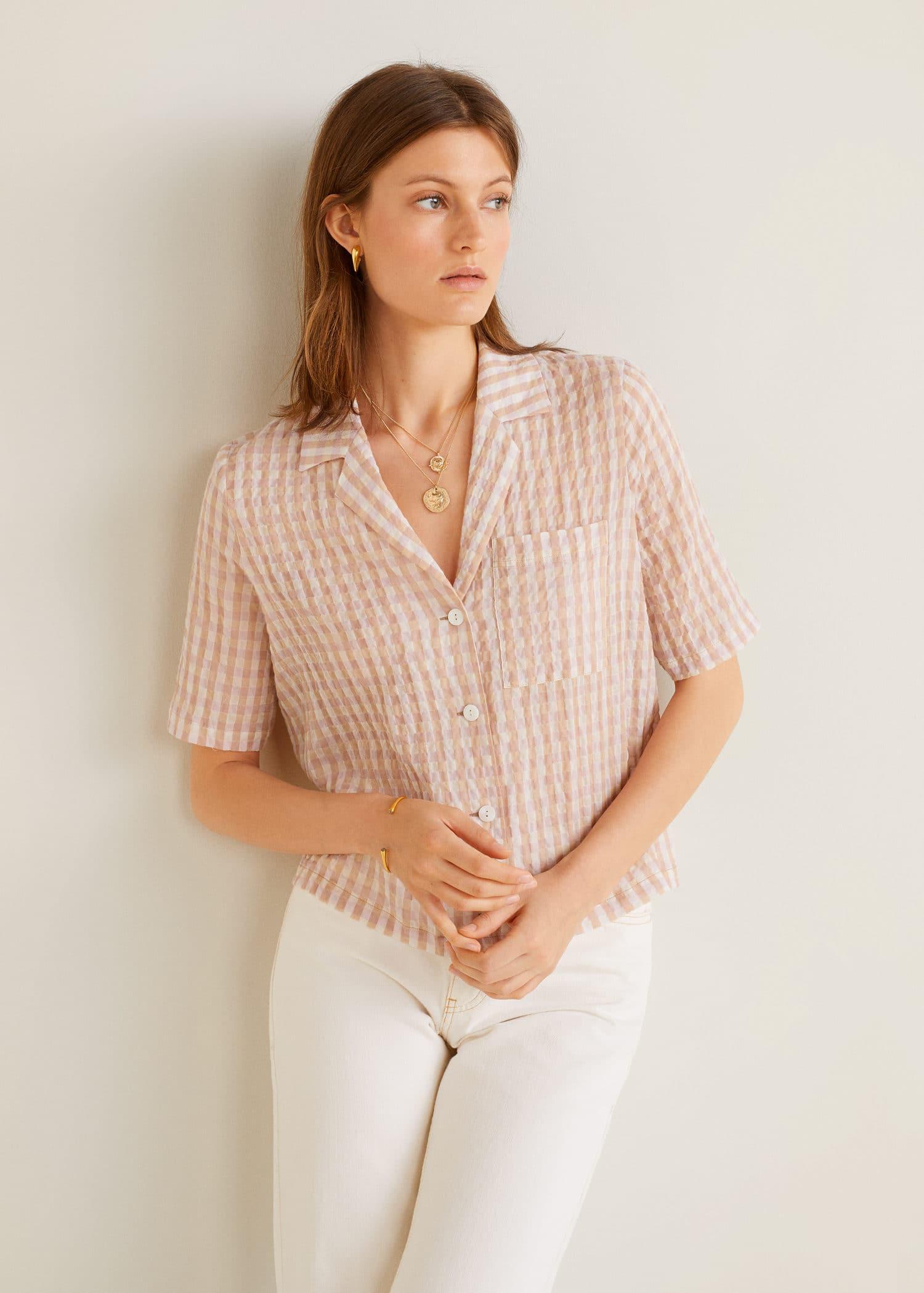 Blusa cuadros vichy Camisas de Mujer | Mango España
