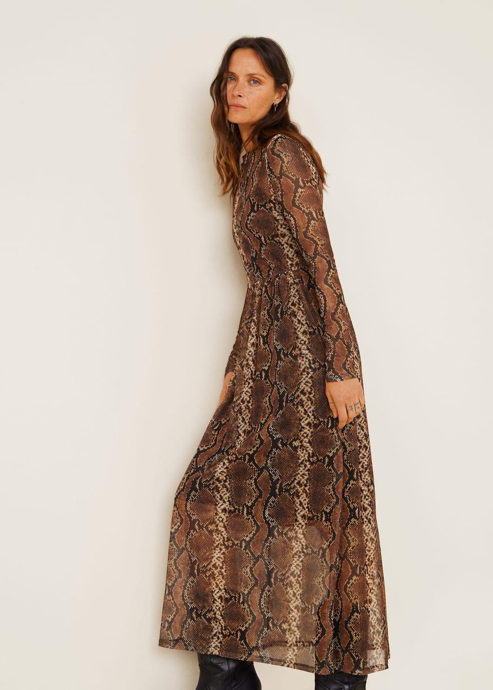 printed tulle dress - women | mango usa