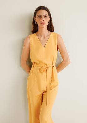 9aa407402c9b Long linen-blend jumpsuit - Medium plane
