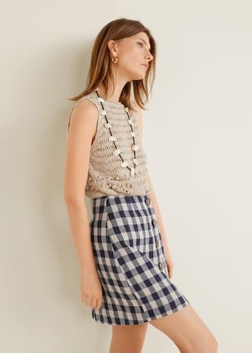 2054620ce8 Checked linen skirt - Medium plane