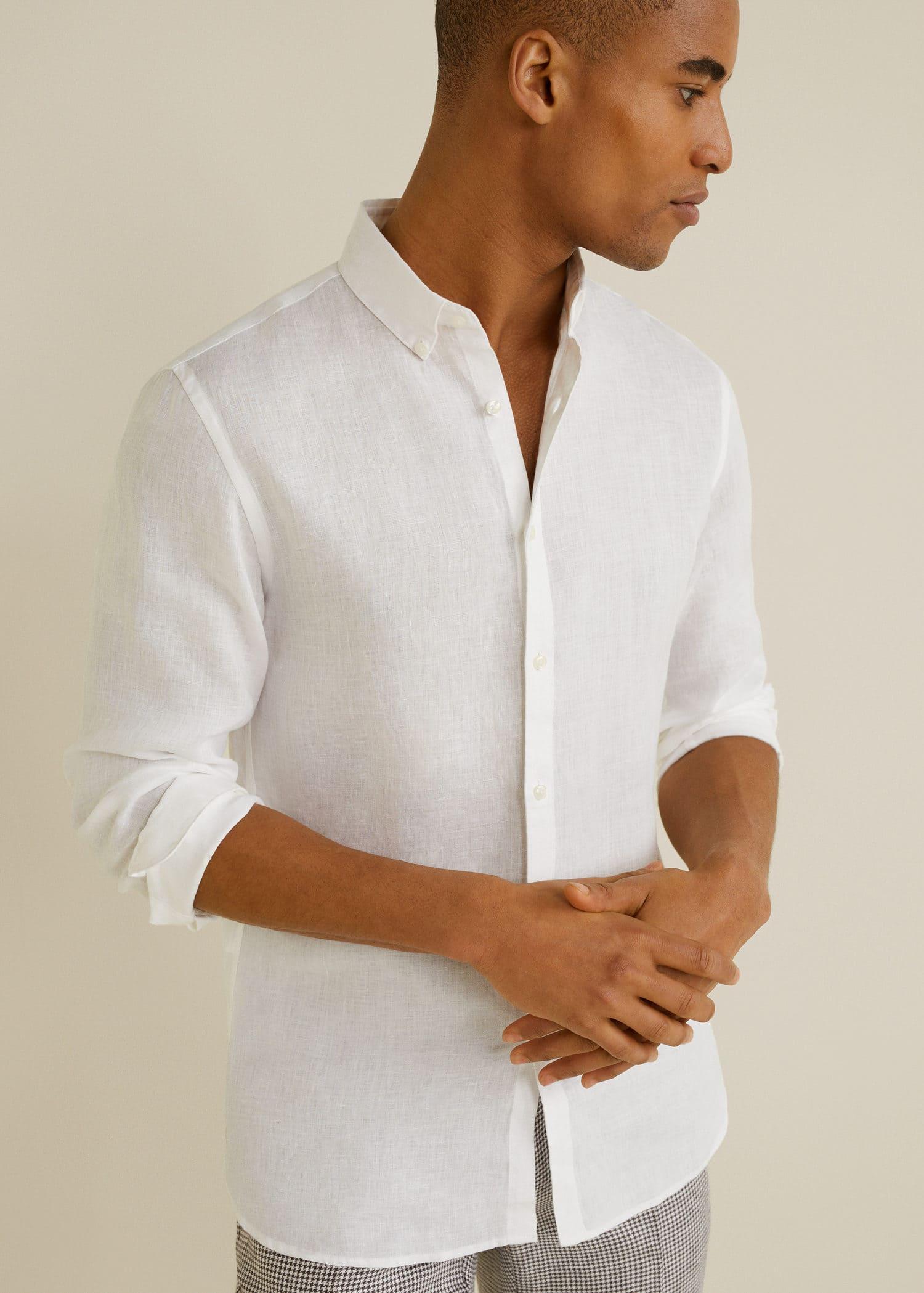 Приталенная льняная рубашка