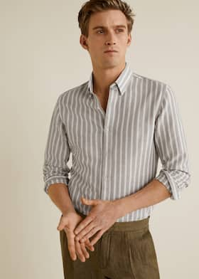 Slim-fit cotton linen-blend shirt 1640b73d1