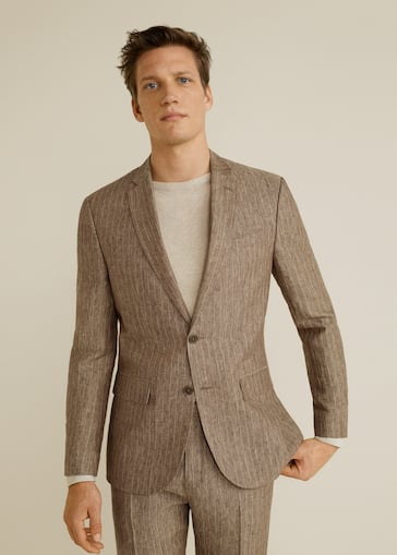 d61d406a296e Veste de costume slim-fit lin - Plan moyen