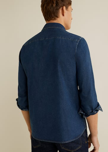 Slim Fit Overhemd.Donker Denim Slim Fit Overhemd Heren Mango Man Nederland