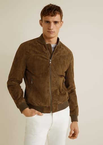 03adee04d Suede bomber jacket
