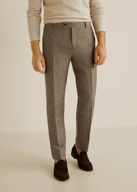Slim-fit linen suit trousers - Medium plane c789d0cc4