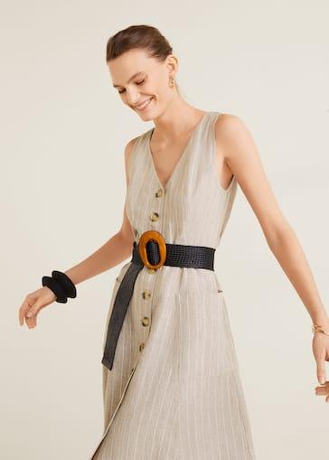 61310126f5b5 Midi-klänning i linne - Detaljer om artikeln 3