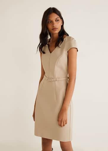 ab16f7f28 Vestido algodón cinturón - Plano medio