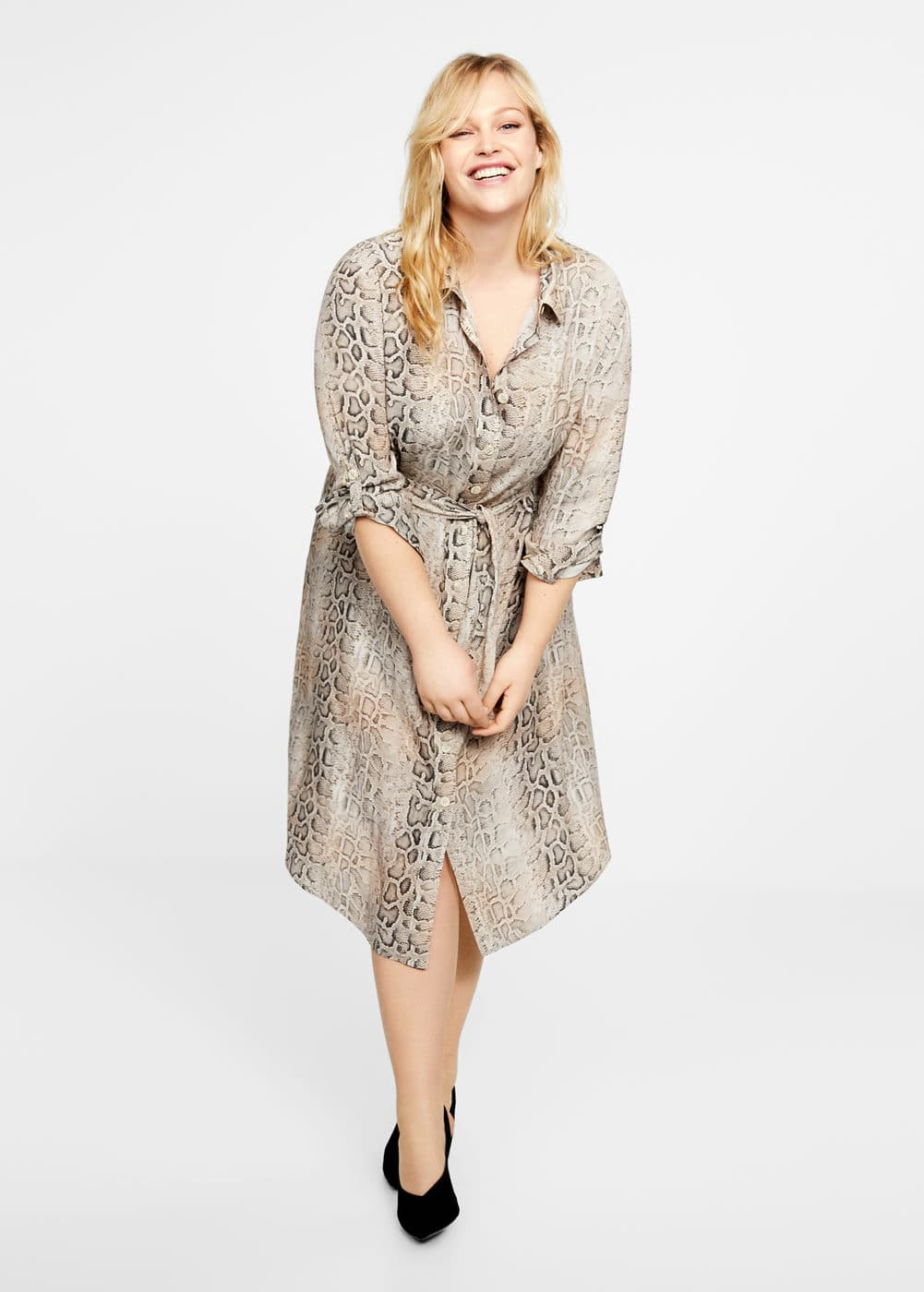 d0ac1e458 Snake print shirt dress - Plus sizes | Violeta by MANGO Jordan