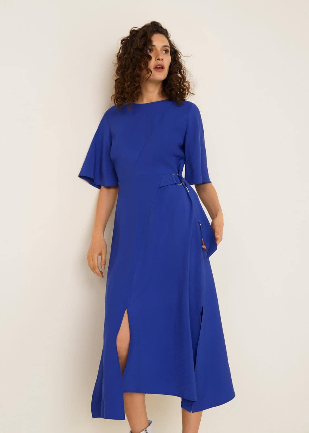 e4abc24a62bfe Shoptagr | Kemerli Midi Boy Elbise by Mango