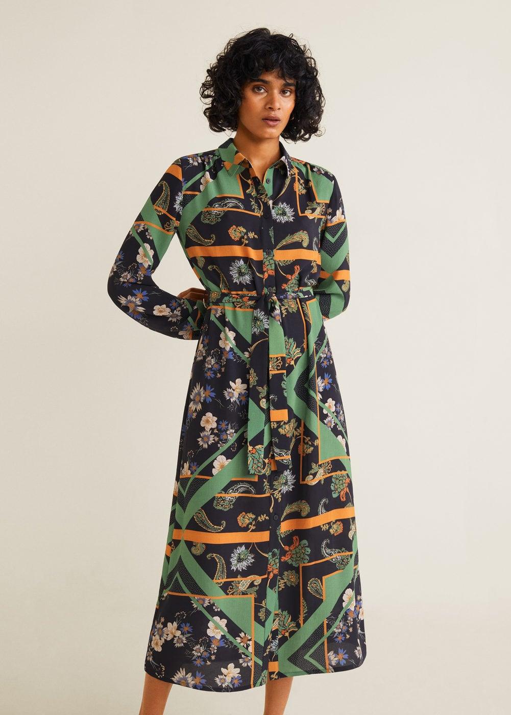 Scarf Print Shirt Dress by Mango