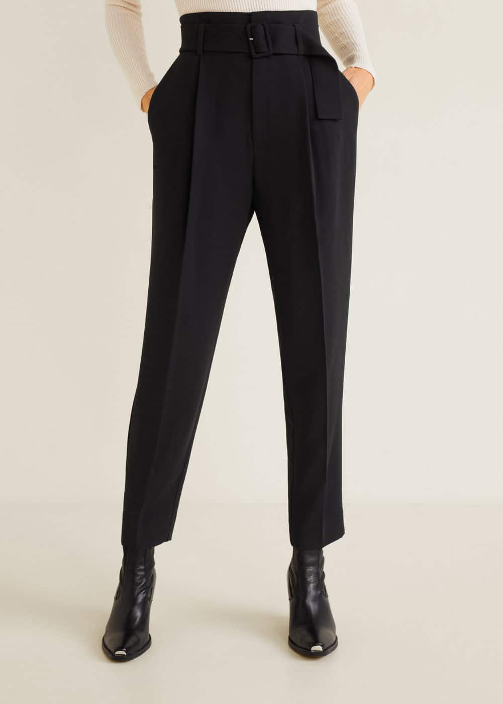 Mango - Belt high-waist trousers - 1