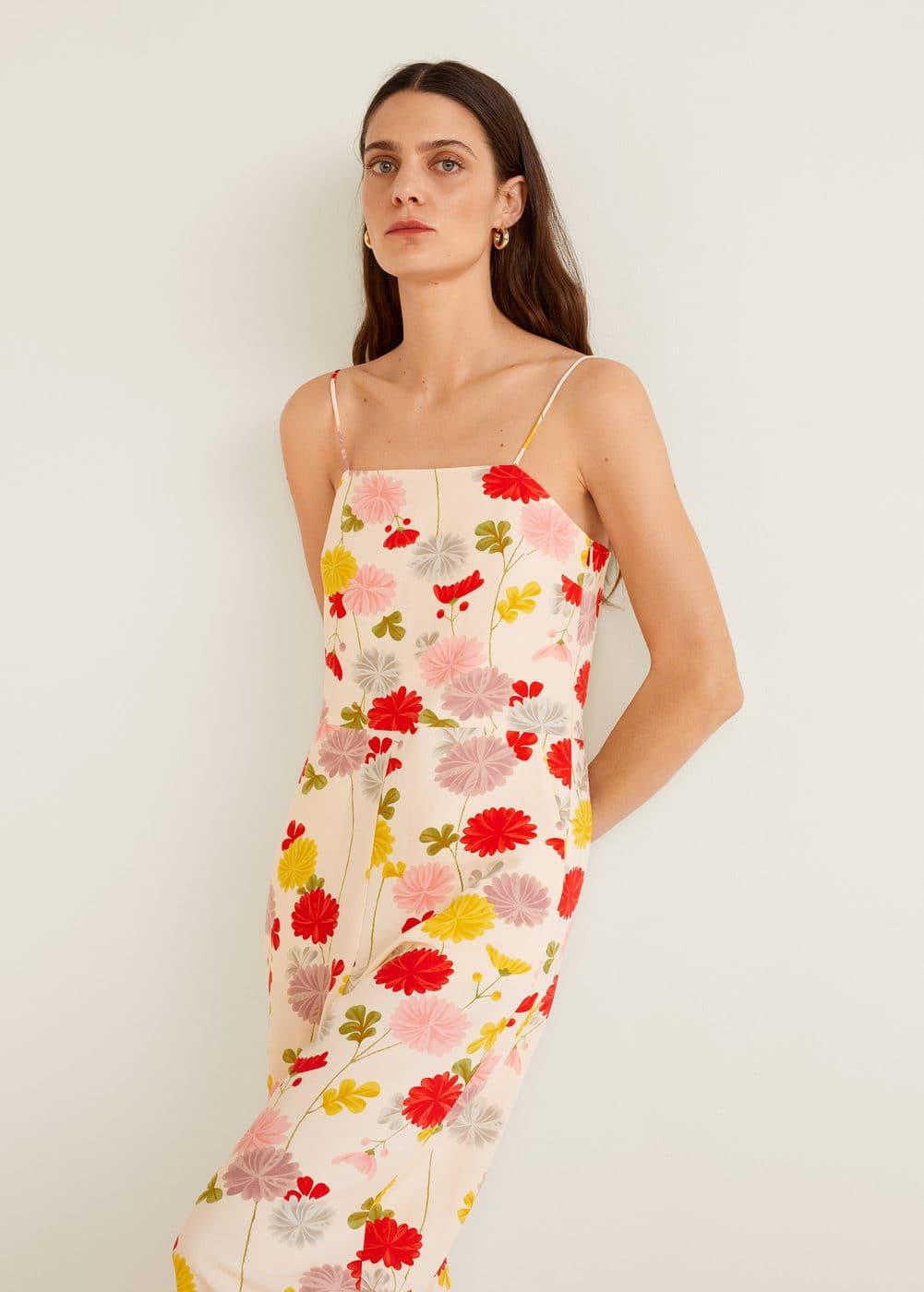 Mango - Flower linen-blend jumpsuit - 1